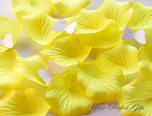 1000 LEMON YELLOW SILK ROSE PETALS WEDDING DECORATION FLOWER FAVOR RP009