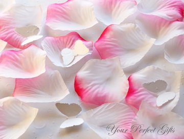 1000 PINK WHITE SILK ROSE PETALS WEDDING DECORATION FLOWER FAVOR RP007