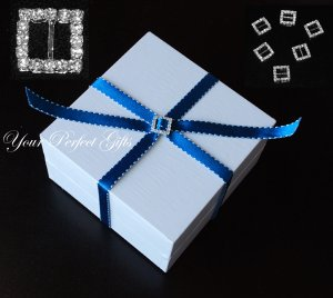 50 SQUARE Diamante Rhinestone Crystal Silver Buckle Sliders For Wedding Invitation BK007