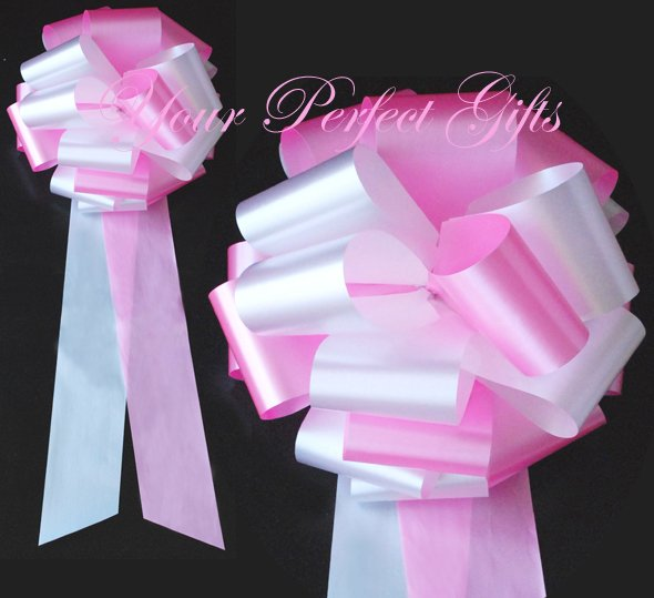 """10 WHITE CANDY PINK 9"""" EXTRA WIDE WEDDING PULL PEW BOWS FOR BRIDAL CAKE GIFT BASKET DECORCATION"""