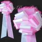 "10 WHITE CANDY PINK 9"" EXTRA WIDE WEDDING PULL PEW BOWS FOR BRIDAL CAKE GIFT BASKET DECORCATION"
