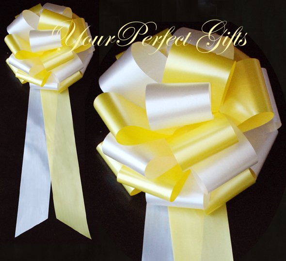 """10 WHITE YELLOW 9"""" EXTRA WIDE WEDDING PULL PEW BOWS FOR BRIDAL CAKE GIFT BASKET DECORCATION"""