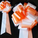 "10 WHITE ORANGE 9"" EXTRA WIDE WEDDING PULL PEW BOWS FOR BRIDAL CAKE GIFT BASKET DECORCATION"