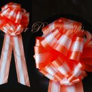 "10 WHITE ORANGE TWO LAYER 9"" EXTRA WIDE WEDDING LACE PULL PEW BOW BRIDAL CAKE GIFT  DECORCATION"