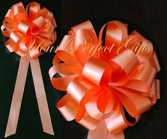 """10 ORANGE 8"""" WEDDING PULL PEW BOWS FOR BRIDAL CAKE GIFT BASKET DECORCATION PB012"""