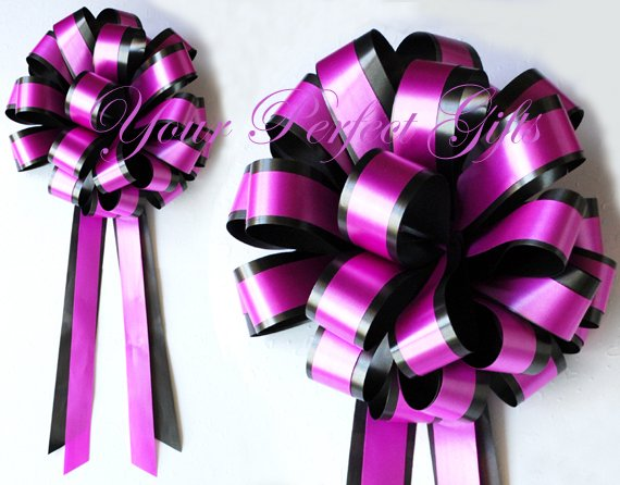 "10 FUCHSIA PINK BLACK 8"" TWO LAYER WEDDING PULL PEW BOWS FOR BRIDAL CAKE GIFT BASKET DECORCATION"