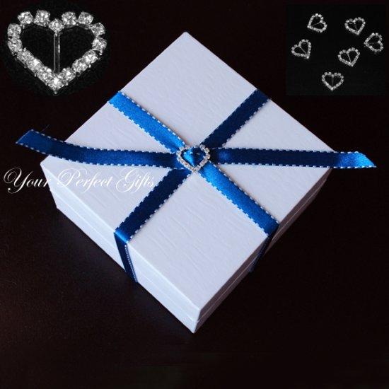 100 HEART 19mm Silver Diamante Rhinestone Crystal Buckle Sliders For Wedding Invitation BK010