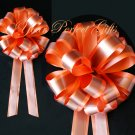 "10 ORANGE BROWN 8"" TWO LAYER WEDDING PULL PEW BOWS FOR BRIDAL CAKE GIFT BASKET DECORCATION"