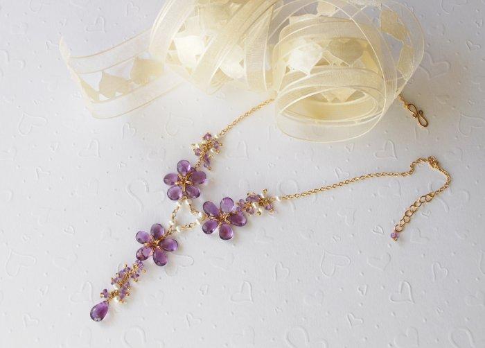 14K Gold Filled Nature Amethyst & Pearl Wedding Necklace Set