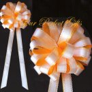 "10 TANGERINE ORANGE & WHITE 9"" WEDDING LACE PULL PEW BOWS BRIDAL CAKE GIFT BASKET DECORCATION"