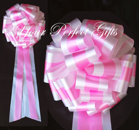 "10 WHITE PINK TWO LAYER 9"" EXTRA WIDE WEDDING PULL PEW BOWS FOR BRIDAL CAKE GIFT BASKET DECORCATION"