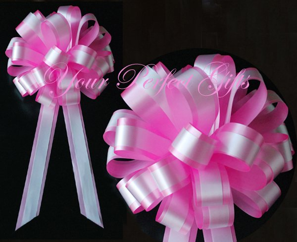 """10 CANDY PINK WHITE 8"""" TWO LAYER WEDDING PULL PEW BOWS FOR BRIDAL CAKE GIFT BASKET DECORCATION PB050"""