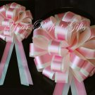 """10 BABY PINK IVORY 8"""" TWO LAYER WEDDING PULL PEW BOWS FOR BRIDAL CAKE GIFT BASKET DECORCATION"""