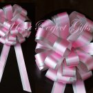 "10 BABY PINK SILVER 8"" TWO LAYER WEDDING PULL PEW BOWS FOR BRIDAL CAKE GIFT BASKET DECORCATION"
