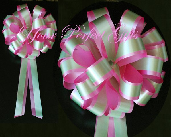 """10 CANDY PINK GREEN 8"""" TWO LAYER WEDDING PULL PEW BOWS FOR BRIDAL CAKE GIFT BASKET DECORCATION"""