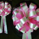 "10 CANDY PINK GREEN 8"" TWO LAYER WEDDING PULL PEW BOWS FOR BRIDAL CAKE GIFT BASKET DECORCATION"