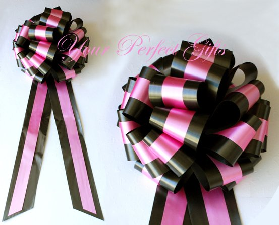 """10 BLACK PINK TWO LAYER 9"""" EXTRA WIDE WEDDING PULL PEW BOWS FOR BRIDAL CAKE GIFT BASKET DECORCATION"""