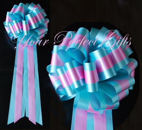 """10 TEAL BLUE PINK TWO LAYER 9"""" EXTRA WIDE WEDDING PULL PEW BOWS BRIDAL CAKE GIFT BASKET DECORCATION"""