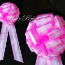 """10 WHITE CANDY PINK TWO LAYER 9"""" EXTRA WIDE WEDDING LACE PULL PEW BOW BRIDAL CAKE GIFT  DECORCATION"""