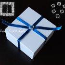 24 SQUARE Silver Diamante Rhinestone Crystal Buckle Sliders For Wedding Invitation BK007