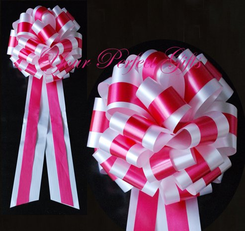"""10 WHITE APPLE RED TWO LAYER 9"""" EXTRA WIDE WEDDING PULL PEW BOWS BRIDAL CAKE GIFT BASKET DECORCATION"""
