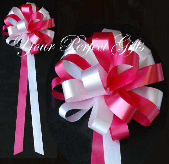 """10 APPLE RED & WHITE 9"""" WEDDING PULL PEW BOWS FOR BRIDAL CAKE GIFT BASKET DECORCATION"""