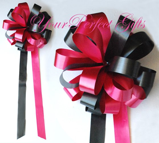 """10 APPLE RED & BLACK 9"""" WEDDING PULL PEW BOWS FOR BRIDAL CAKE GIFT BASKET DECORCATION"""