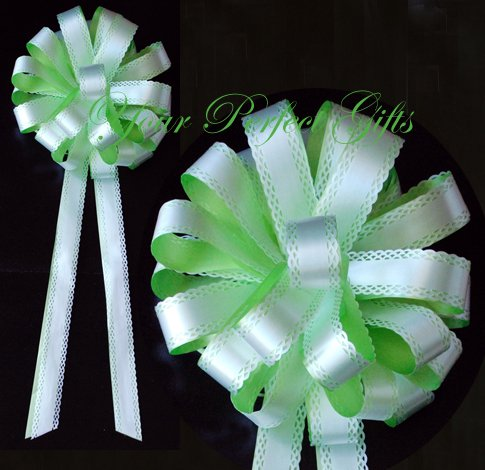 """10 GREEN & WHITE 9"""" WEDDING LACE PULL PEW BOWS FOR BRIDAL CAKE GIFT BASKET DECORCATION"""