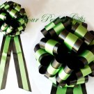 """10 BLACK & GREEN TWO LAYER 9"""" EXTRA WIDE WEDDING PULL PEW BOWS BRIDAL CAKE GIFT BASKET DECORCATION"""