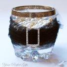 "12 RECTANGLE 1.25"" Silver Large Diamante Rhinestone Crystal Buckle Sliders Wedding Invitation BK067"