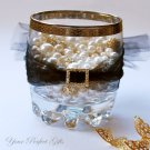 50 RECTANGLE Gold Diamante Rhinestone Crystal Buckle Sliders For Wedding Invitation BK087