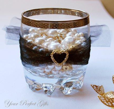 24 HEART Gold Diamante Rhinestone Crystal Buckle Sliders For Wedding Invitation BK035
