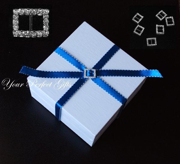 12 RECTANGLE 18mm Diamante Rhinestone Ribbon Silver Buckle Sliders For Wedding Invitation BK054