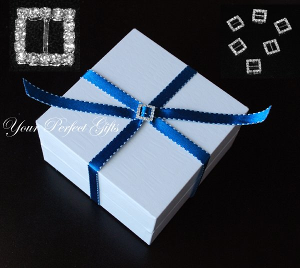 12 SQUARE Diamante Rhinestone Ribbon Silver Buckle Sliders For Wedding Invitation BK007