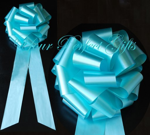 "10 TEAL BLUE 9"" LARGE WEDDING PULL PEW BOWS FOR BRIDAL CAKE GIFT BASKET DECORATION"