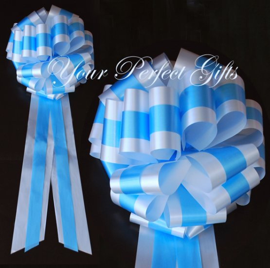 """10 WHITE BLUE  TWO LAYER 9"""" EXTRA WIDE WEDDING PULL PEW BOW BRIDAL CAKE GIFT  BASKET DECORCATION"""