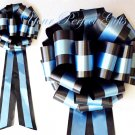 "10 BLACK BLUE  TWO LAYER 9"" EXTRA WIDE WEDDING PULL PEW BOW BRIDAL CAKE GIFT  BASKET DECORCATION"