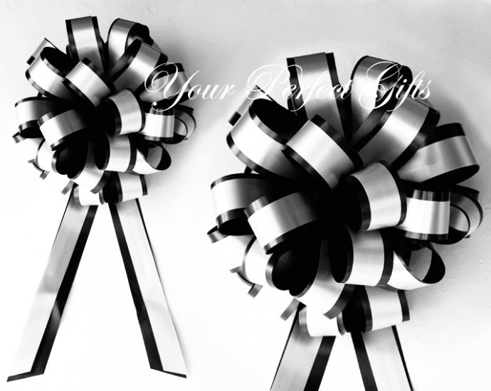 "10 BLACK WHITE 8"" TWO LAYER WEDDING PULL PEW BOWS FOR BRIDAL CAKE GIFT BASKET DECORCATION PB015"
