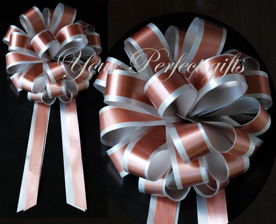 """10 SILVER BROWN 8"""" TWO LAYER WEDDING PULL PEW BOWS FOR BRIDAL CAKE GIFT BASKET DECORCATION"""