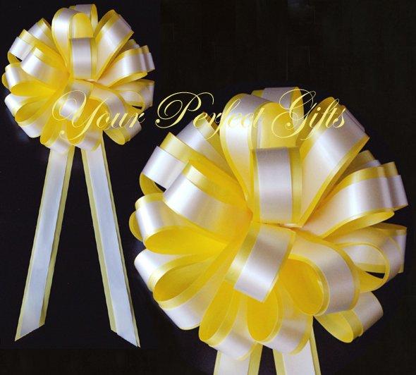 "10 LEMON YELLOW WHITE 8"" TWO LAYER WEDDING PULL PEW BOWS FOR BRIDAL CAKE GIFT BASKET DECORCATION"