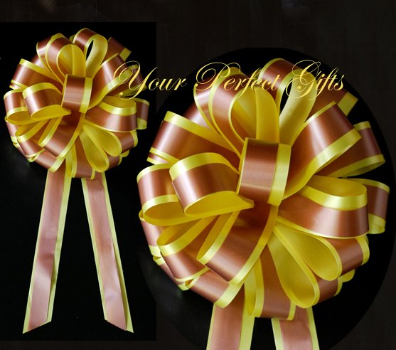 """10 YELLOW BROWN 8"""" TWO LAYER WEDDING PULL PEW BOWS FOR BRIDAL CAKE GIFT BASKET DECORCATION"""