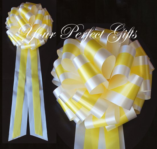 "10 WHITE YELLOW  TWO LAYER 9"" EXTRA WIDE WEDDING PULL PEW BOW BRIDAL CAKE GIFT  BASKET DECORCATION"