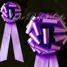 "10 PURPLE 9"" LARGE WEDDING PULL PEW BOWS FOR BRIDAL CAKE GIFT BASKET DECORATION"