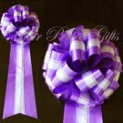 """10 WHITE PURPLE TWO LAYER 9"""" WEDDING LACE PULL PEW BOW BRIDAL CAKE GIFT  DECORCATION PB118"""