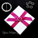 12 CIRCLE ROUND 22mm Silver Diamante Rhinestone Ribbon Buckle Sliders For Wedding Invitation BK003