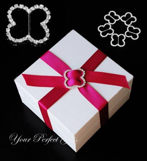 24 LARGE BUTTERFLY Silver 28mm Diamante Rhinestone Ribbon Buckle Sliders For Wedding Invitation Card