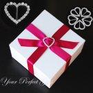 100 LARGE HEART 25mm Silver Diamante Rhinestone Crystal Buckle Sliders For Wedding Invitation BK013