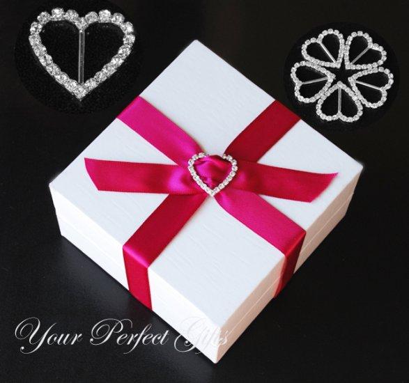 50 HEART 25mm Silver Diamante Rhinestone Crystal Buckle Sliders For Wedding Invitation BK013