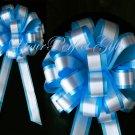 "10 TURQUOISE BLUE WHITE 8"" TWO LAYER WEDDING PULL PEW BOWS BRIDAL CAKE GIFT BASKET DECORATION PB084"