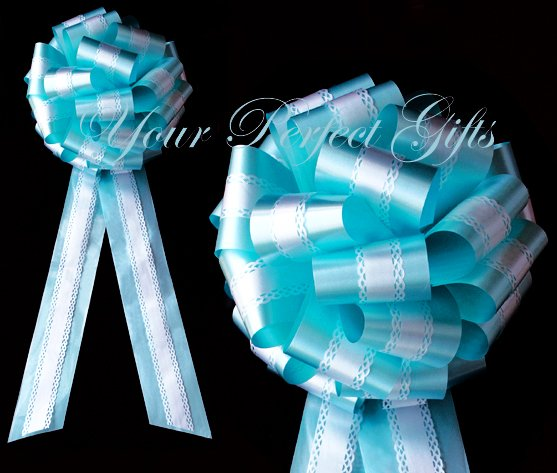 """10 WHITE TEAL BLUE TWO LAYER 9"""" EXTRA WIDE WEDDING LACE PULL PEW BOW BRIDAL CAKE GIFT  DECORCATION"""